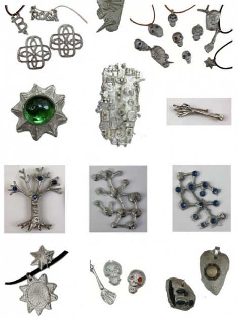 Jewellery by participants of F02 pewter casting family workshop