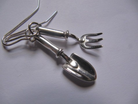 Trowel and fork earrings by Maggie Laing