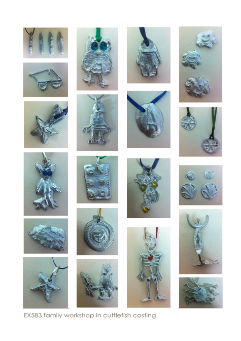 hands - on family workshop in cuttlefish casting with pewter at Flux studios