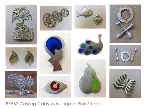 sculptures and wearable pewter objects made using a variety of casting techniques
