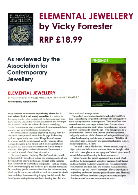 Melanie Pike reviews the book Elemental Jewellery for ACJ's magazine 'Findings'